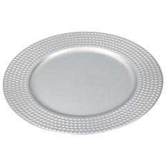 HOME DECO Dekoračný tanier Q 33 cm strieborná