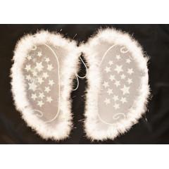 Anjelské krídla biele  s hviezdičkami na karneval  50 cm