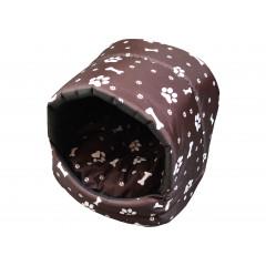 Búdka pre psa, pre mačku hnedá, biele kostičky a labky 35x35x30 cm