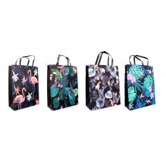 """GIFT BAG & BOX Darčeková taška """"PLAMENIAKY,LÍSTIE"""" 40x30x12 cm"""