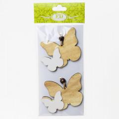 Motýľ drevený sada 2 ks