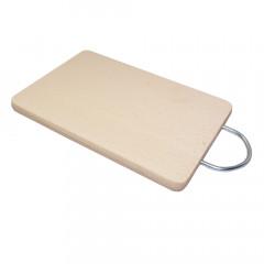 Doska na krájanie + kovový držiak  12x18x1,5 cm bukové drevo