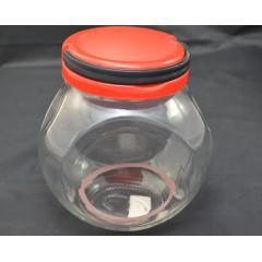 Dóza sklenená s plastovým uzáverom 19x16x12 cm