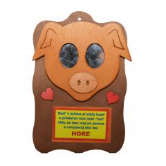 WOOD ART Dekoračný humorný predmet prasa miesto očí má zrkadielka 22x14 cm