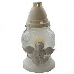REKIN Kahanec sklenený  biely anjel  21 cm