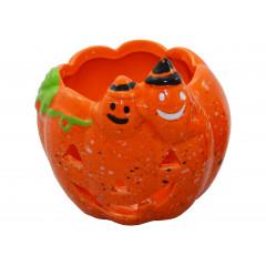HOME DECO Halloween svietnik keramická dyňa 9,5 x 8,9 x 7,6 cm