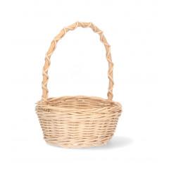 HOME DECO Košík prútený s rúčkou okrúhly  biely Q: 25 x 25 H 15x34 cm