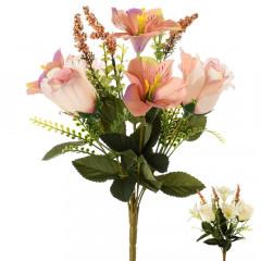 CHRISTMAS DECOR Kytica ruža + alstrom. mix 2 farieb 33 cm