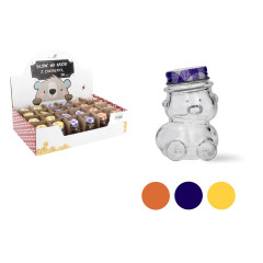 Dóza sklenená medvedík s uzáverom 30 ml