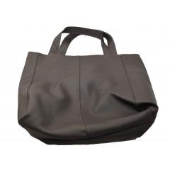 Taška nákupná koženková, tmavo hnedá