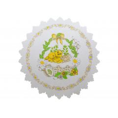 Obrus veľkonočný 18 cm 100 % vzor  kurky, biely podklad