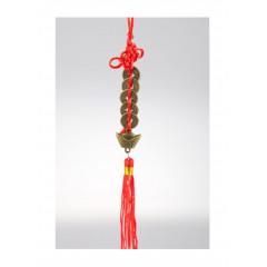 Ochranný čínsky prívesok s mincami a ingotom pre bohatstvo dĺžka prívesku cca 15 cm