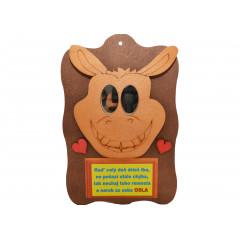 WOOD ART Dekoračný humorný predmet osol miesto očí má zrkadielka 22x14 cm