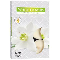 CANDLE CHIC Čajové sviečky WHITE FLOWERS 6 ks