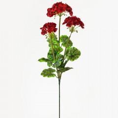 FLOWER HARMONY Umelý kvet Pelargónia X3 70 cm tmavo červená