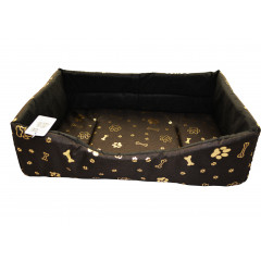 Pelech pre zvieratá obdlžnik ,,hnedý so zlatými kostičkami a labkami,, 55x40x19 cm