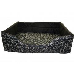 Pelech pre zvieratá obdlžnik ,,čierny, vzor louis vuitton,, 55x40x19 cm