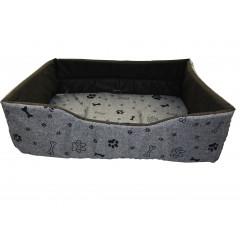 Pelech pre zvieratá obdlžnik ,,sivý, čierne kostičky,, 55x40x19 cm