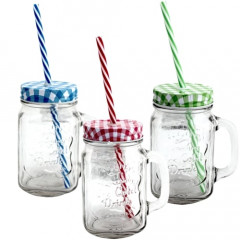 GLASS FEELING Pohár sklenený so slamkou 400 ml