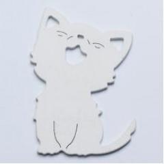 Drevený výrez - mačka 6 ks,  8 cm