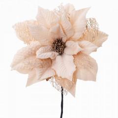 CHRISTMAS DECOR Kvet poinsettia bledo hnedá s glitrom 15x22 cm
