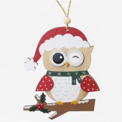 CHRISTMAS DECOR Vianočná drevená sova12 cm