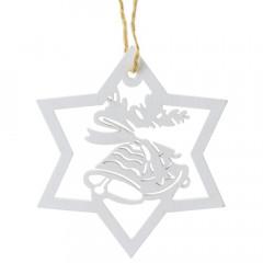 CHRISTMAS DECOR Vianočná hviezda biela-výrez 10 cm 8 ks balenie