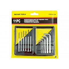 HOUSEHOLD Presné skrutkovače sada 6 ks a 5 šesťhranných skrutiek v krabičke 18x18 cm