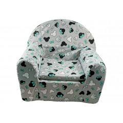 Kresielko detské, sivý podklad, hlava Minnie so zelenou mašľou