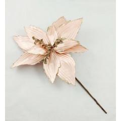 CHRISTMAS DECOR Umelý kvet s brokátom 30 cm