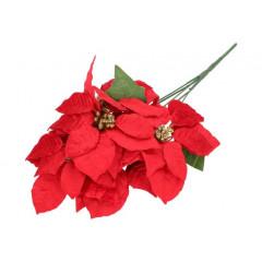 CHRISTMAS DECOR Umelý kvet červená Poisenttia