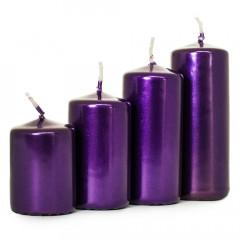 CHRISTMAS DECOR Adventné postupné sviečky v metalickej fialovej 4 ks
