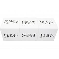 HOME DECO Sada troch samostatných kociek s nápismi. rozmer jednej kocky: 10x10x10 cm