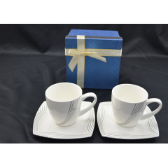 CERAMICS & GIFTS Sada dvoch šálok s podšálkami v darčekovej krabičke