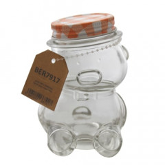 GLASS FEELING Sklenená flaška na med v tvare medvedíka 150 ml