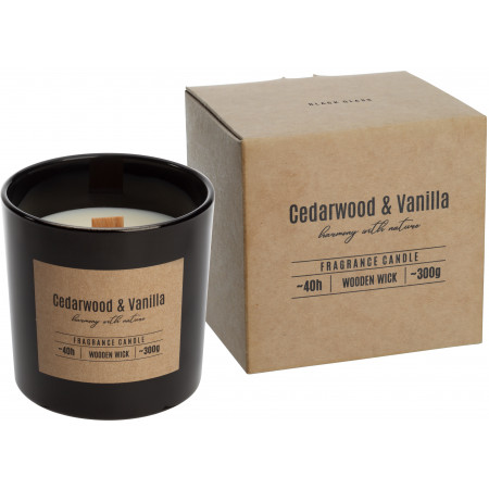 AROMA THERAPY Sviečka v skle s dreveným knôtom vôňa cédrové drevo-vanilka
