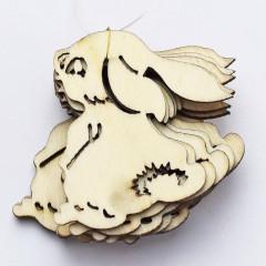 Drevený výrez - zajac  5 cm 20  ks v balení