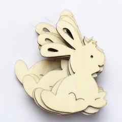 Drevený výrez - zajac biely  7 cm 10 ks v balení